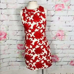 Milly floral embroidered sleeveless roll neck dres